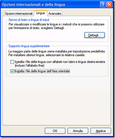 pacchetto lingue orientali windows xp